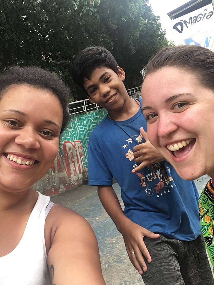 Smiles with a boy in the rio favelas